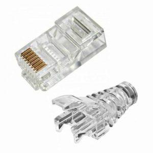 rj45 network lan connectors 8p8c through hole clear boots crimp