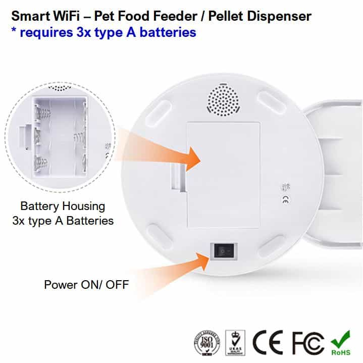 automatic dog cat pet food feeder dispenser smart wifi A batteries