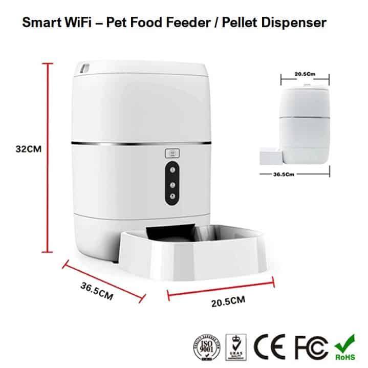 automatic dog cat pet food feeder dispenser smart wifi dimensions