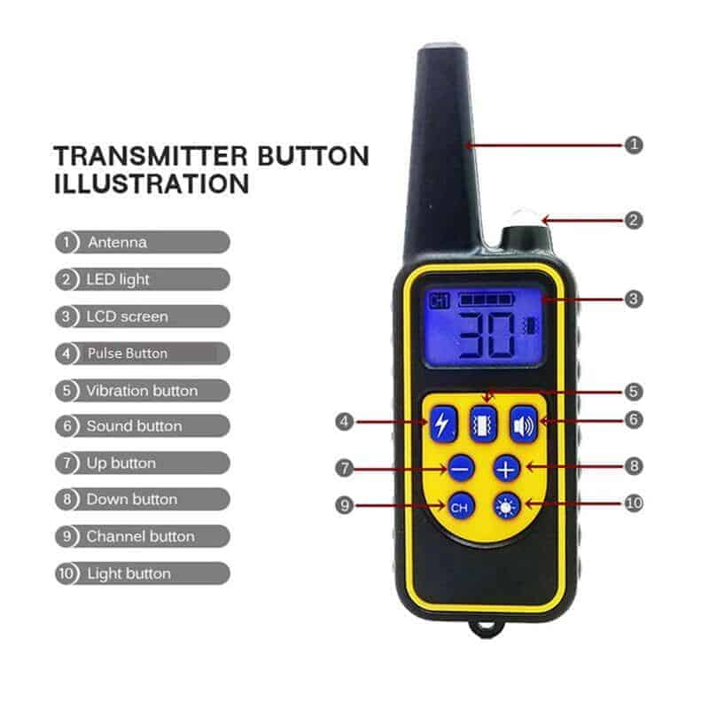 dog training collar remote p880 remote controller functions