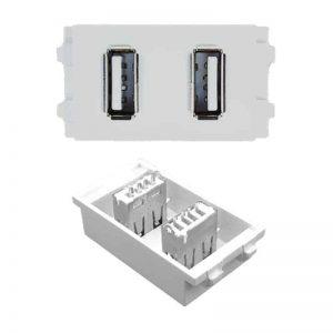 2.15 usb dual 2x female HTECH keystone wall plate insert