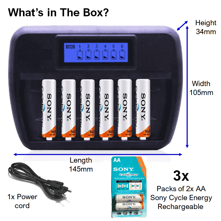 Battery Charger 6 bay + AA Sony Rechargeable Batteries