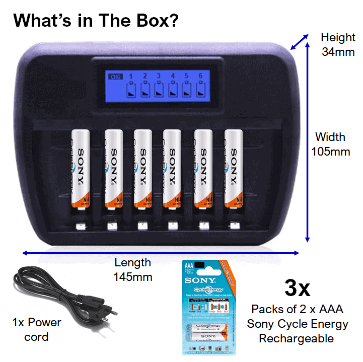 Battery Charger 6 bay + AAA Sony Rechargeable Batteries