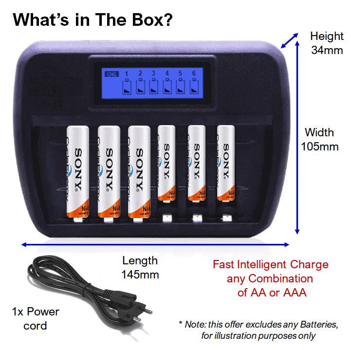 Battery Charger 6 bay Fast Intelligent for AA & AAA Batteries