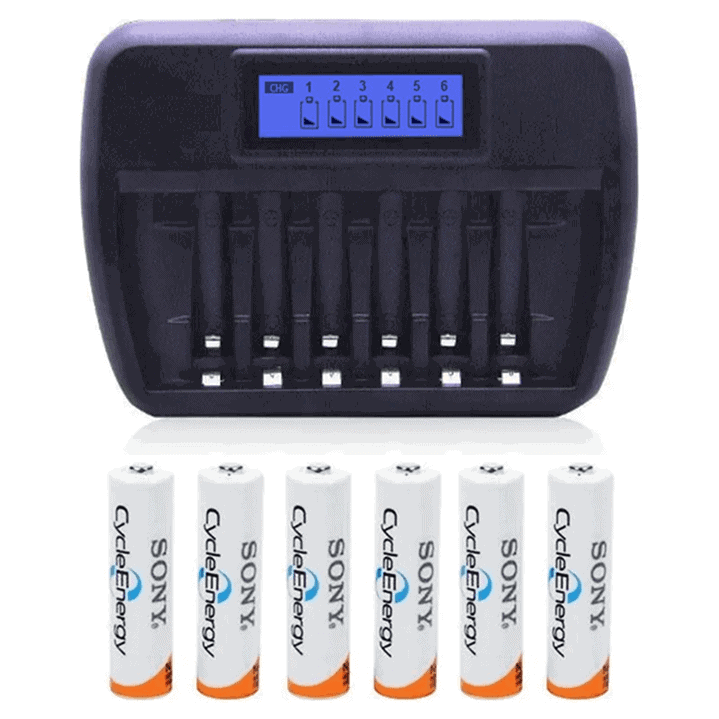 Battery Charger Fast Intelligent 6 slot + 6 AA Sony Rechargeable Batteries