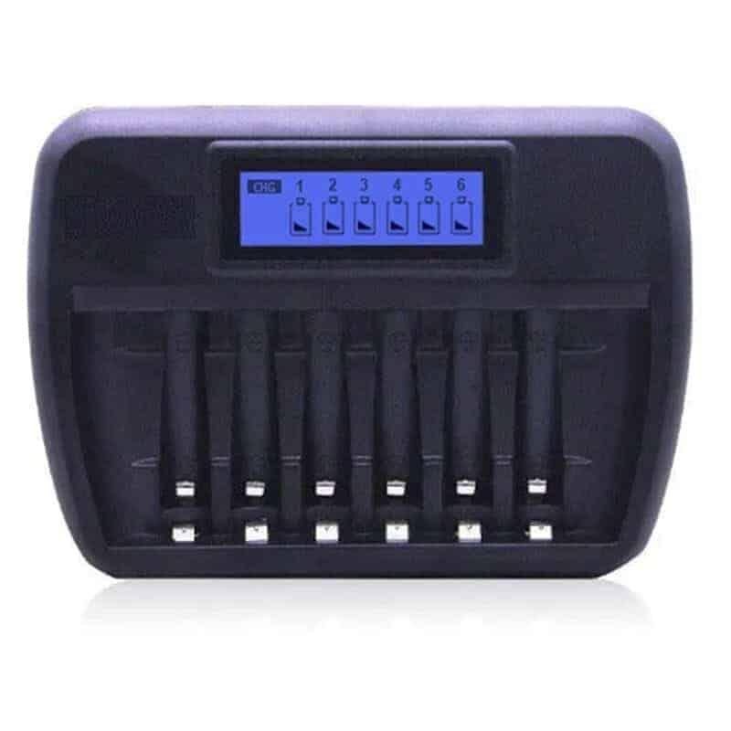 smart battery charger fast intelligent 6 slot AA AAA