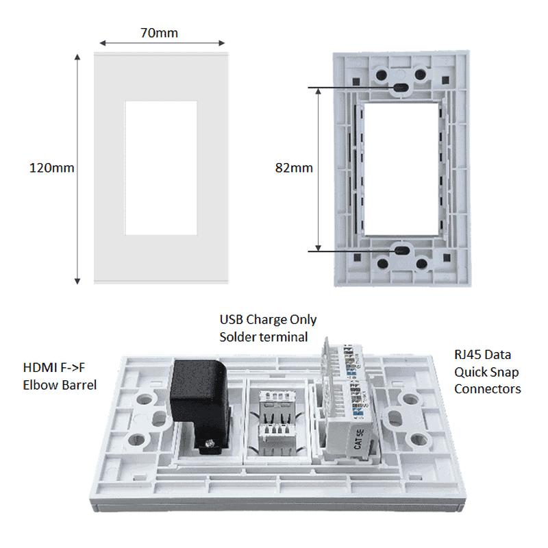htech 2x4 wallpate 3 slot hdmi usb rj45 ethernet lan dimensions