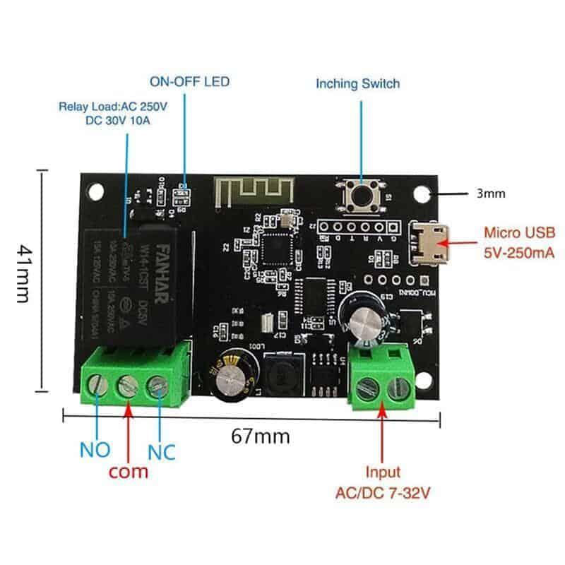 Smart 1Ch Self Locking Inching Relay WiFi Switch 10A Tuya diagram