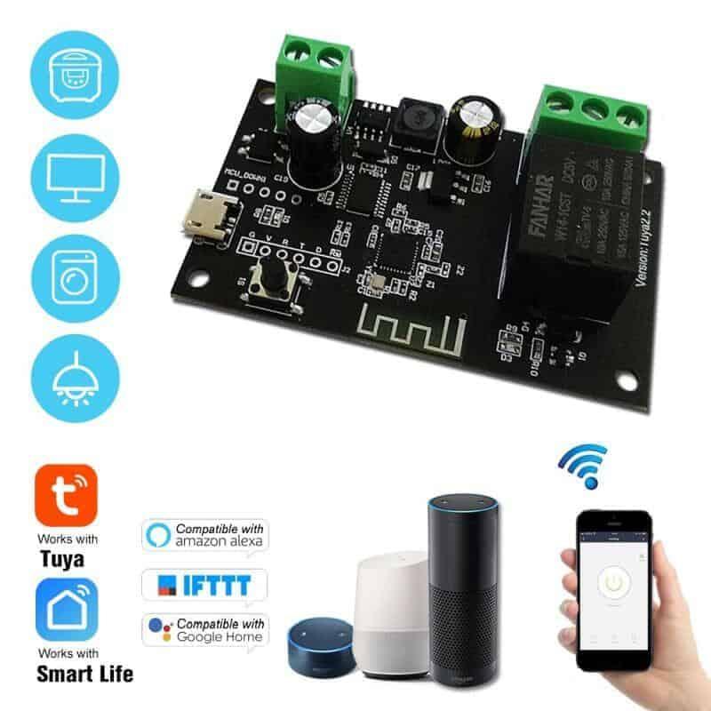 Smart 1Ch Self Locking Inching Relay WiFi Switch 10A Tuya uses
