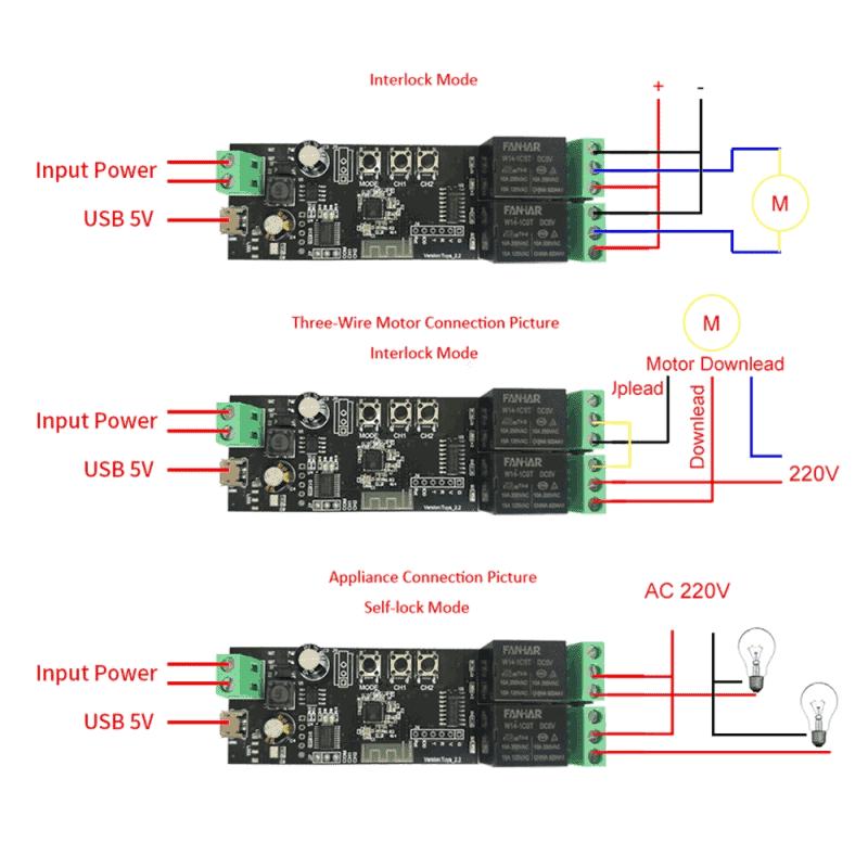 Smart 2Ch Self Locking Inching Relay WiFi Switch 10A Tuya wiring diagram