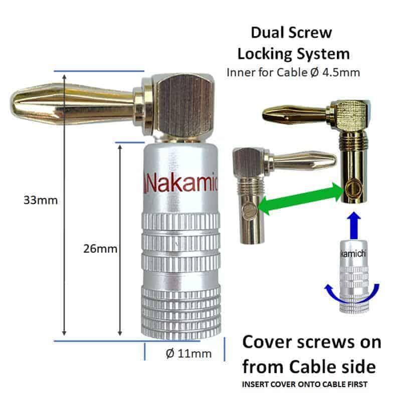 nakamichi speaker connector banana elbow dimensions