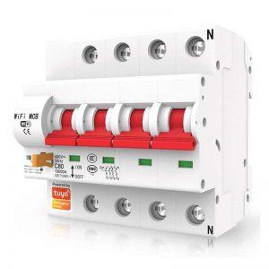 smart mcb circuit breaker 4 pole isolator 16A 20A 25A 32A 40A 63A 80A 100A125A wifi switch tuya smartlife