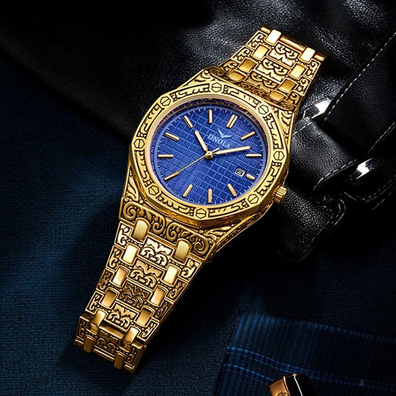 mens watch antique carved gold blue inlay display