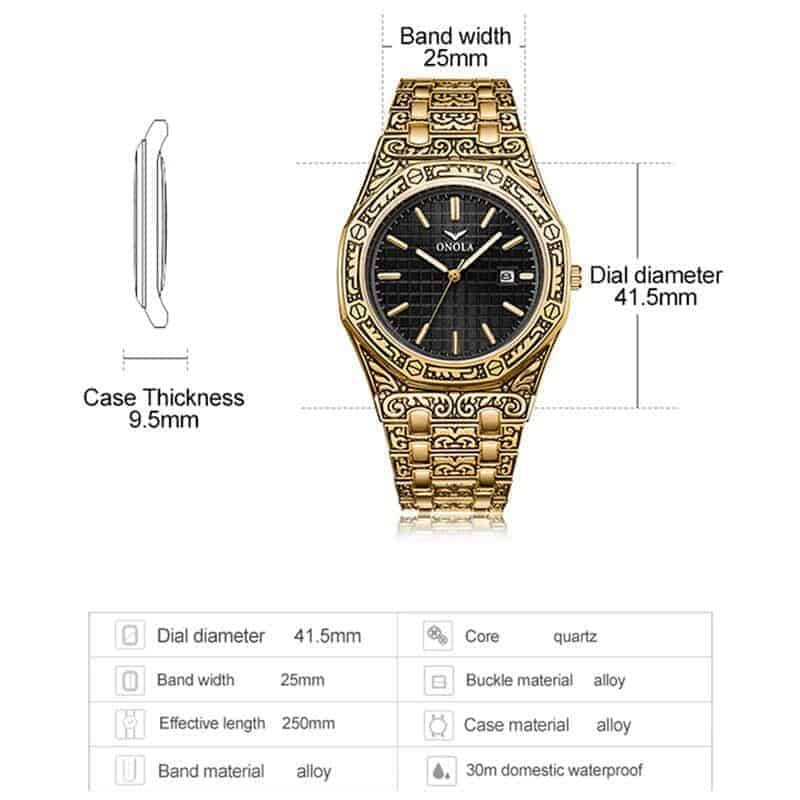 mens watch antique carved gold dimensions