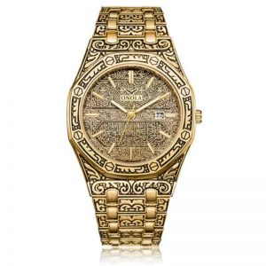 mens watch antique carved gold gold inlay quartz