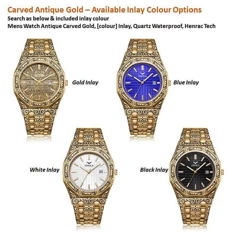 mens watch antique carved gold inlay colour options quartz