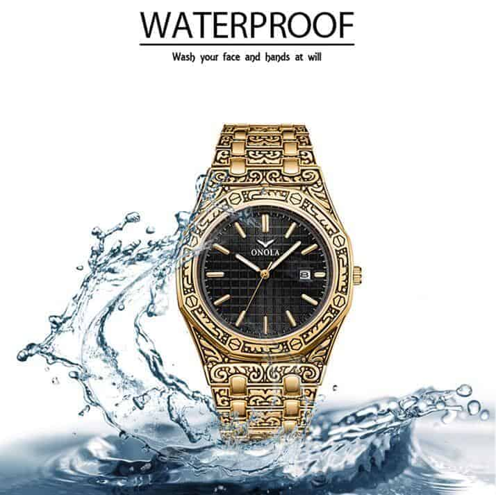 mens watch antique carved gold waterproof