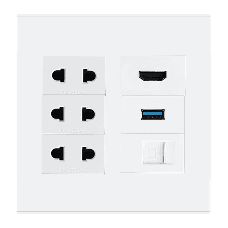 wall plate 4x4 hdmi usb lan power eu 2pin