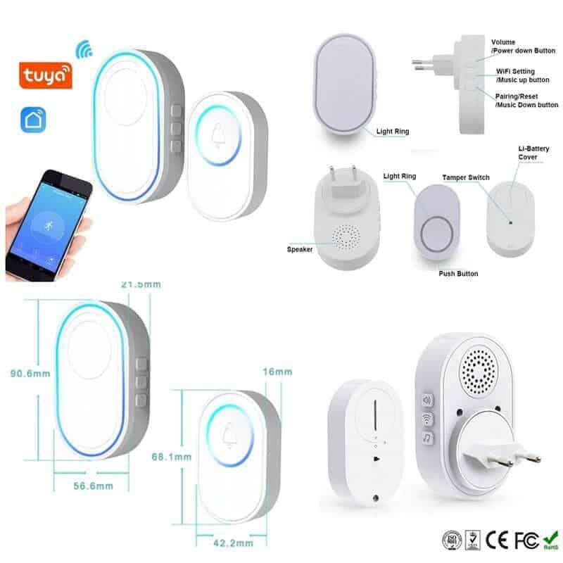 Tuya WiFi 433MHz Wireless Doorbell Smart Door Bell Chime Ring Home Security APP