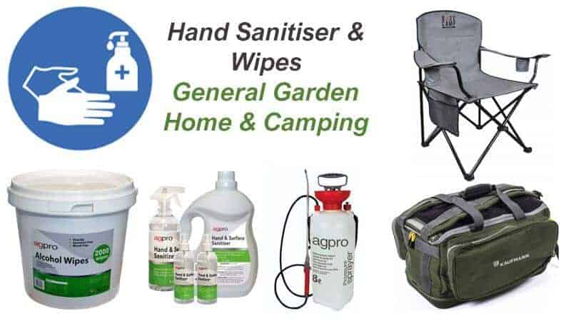 hand sanitiser 70 alcohol wipes camping chairs outdoor bags