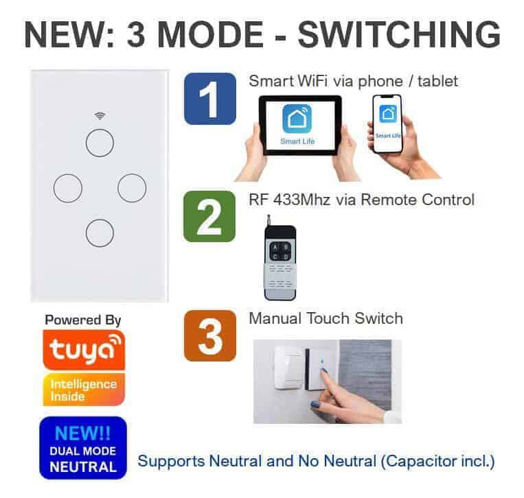 smart light wifi switch 3 mode switching 433mhz touch switch