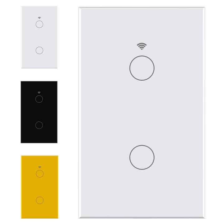 smart wifi switch no neutral 2 gang touch light tuya smartlife white