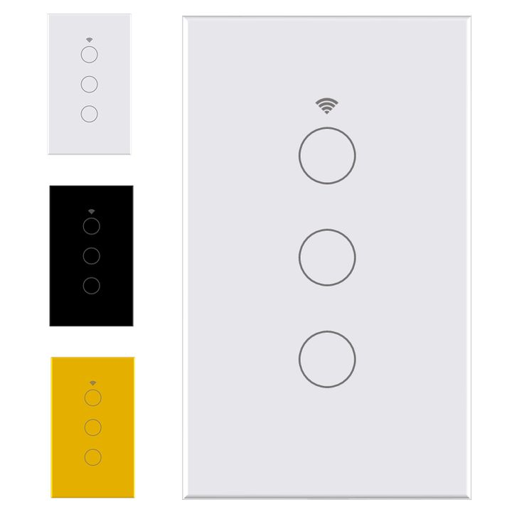 smart wifi switch no neutral 3 gang touch light tuya smartlife white