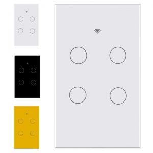 smart wifi switch no neutral 4 gang touch light tuya smartlife white