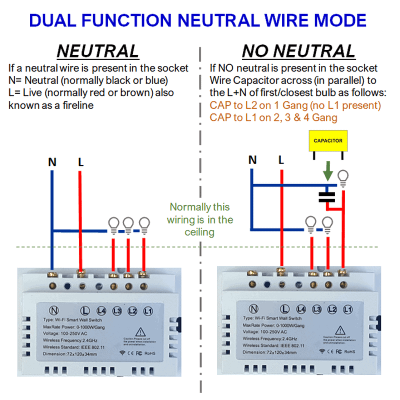 smart wifi switch no neutral connection diagram tuya smartlife capacitor
