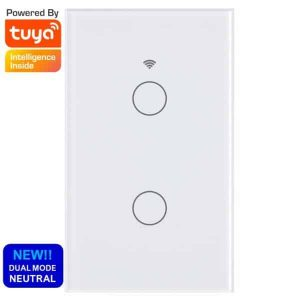 smart wifi switch touch 2 gang no neutral tuya smartlife