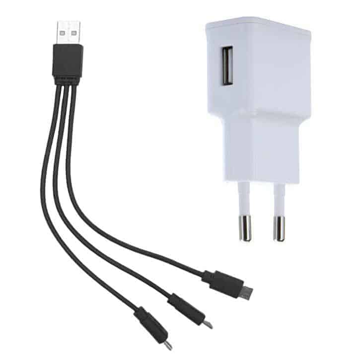 USB to 3 Micro USB cable and Power Supply 5V 1A