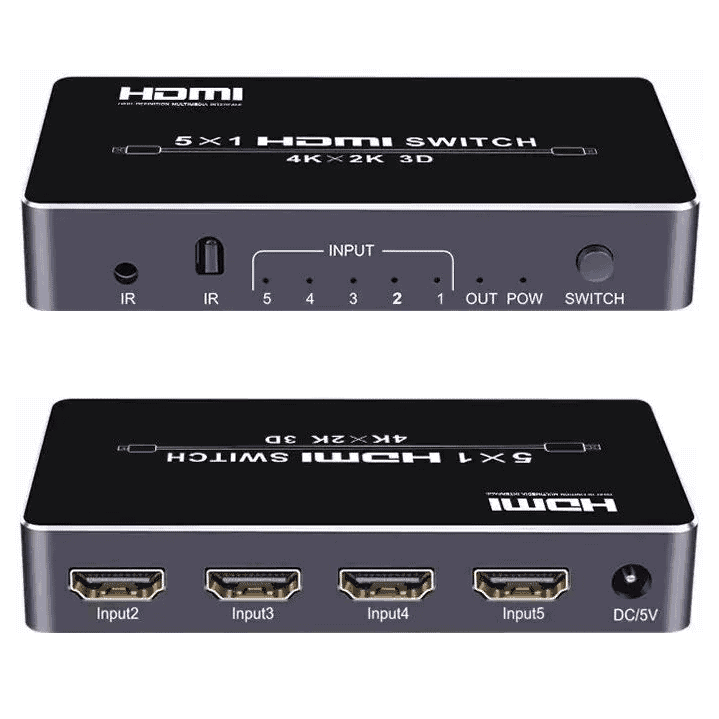 HDMI Switch 5in to 1out 4k HDMI2.0 HDCP2.2 5 port UHD