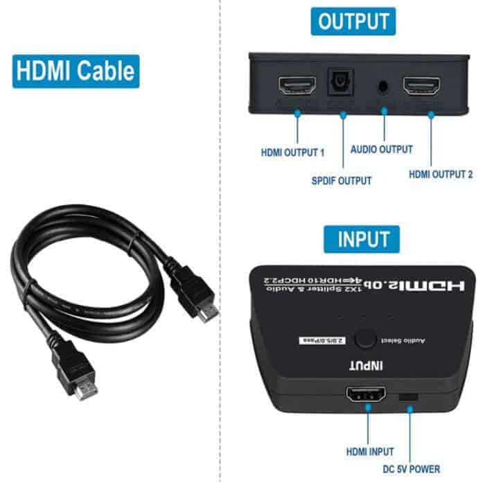 HDMI 2 way Splitter with Audio extractor spdif 3.5mm jack connections