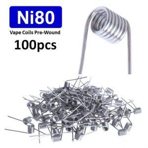 vape coils nickel ni80 wire rba rta rda rebuildable coils 0.2, 0.4, 0.5, 0.6, 1.3, 1.5 ohms 100pcs