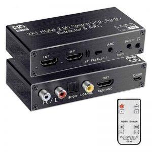 HDMI Audio Extractor Switch 4K ARC EDID HDCP2.2 v2.0b DAC