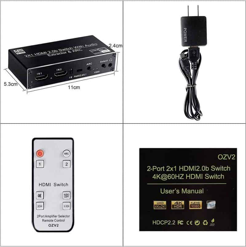HDMI Audio Extractor Switch 4K ARC EDID HDCP2.2 v2.0b DAC contents