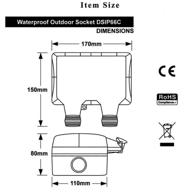 Smart WiFi Switch Outdoor IP66 Waterproof 16A SA 2 Gang Tuya dimensions
