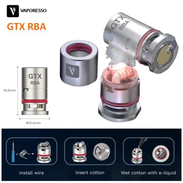 vaporesso GTX RBA rebuildable dimensions