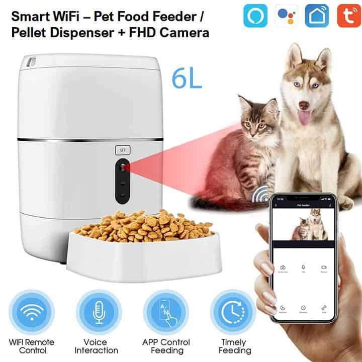 automatic dog cat pet food feeder dispenser smart wifi HD camera