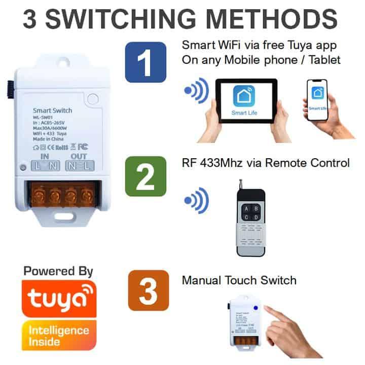 smart basic wifi switch 30A + 433Mhz tuya 3 methods switching